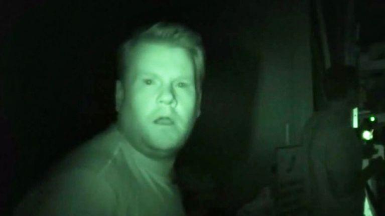 James Corden sh*ts himself looking for ghosts in haunted studio (Video)