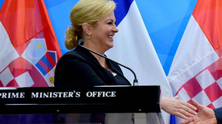 Humanitarian leader's trousers fall down in mid-photo...with the Croatian president (Video)