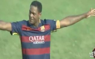 Watch a 39-year-old Patrick Kluivert score an absolutely outrageous lob for Barcelona legends