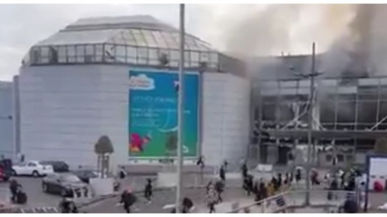 Amateur video footage shows people fleeing from Belgium airport bombing