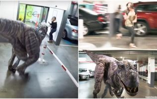 This 'dinosaur attack' prank in an office carpark is cruel, but pretty damn funny