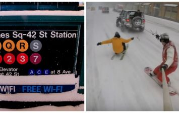 VIDEO: New Yorkers take advantage of blizzard by snowboarding through the city