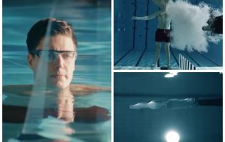 VIDEO: The spectacular moment a man fires a gun at himself while underwater