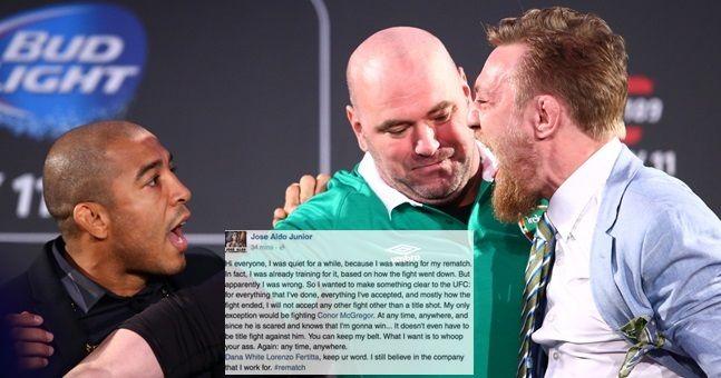 Dana White addresses Jose Aldo's demands for Conor McGregor rematch