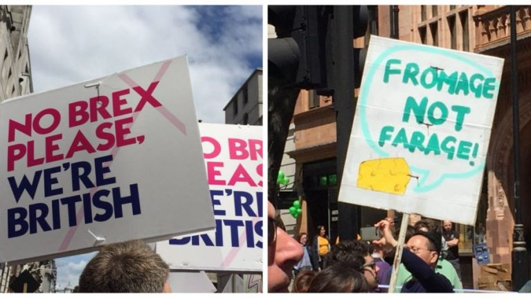Here are the all the best banners from today's post-referendum protest