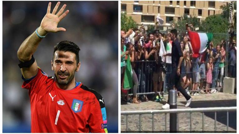 cced3c086ed All round legend Gianluigi Buffon hugs adoring fans as Italy team depart  France