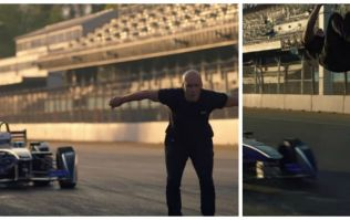 Oh this, it's just a stuntman backflipping over a speeding Formula E car