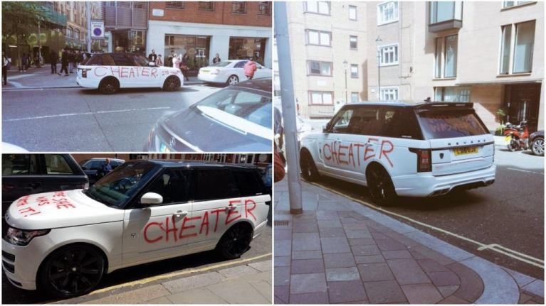 Girlfriend gets revenge on cheater by spray-painting £100,000 Range Rover