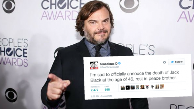 A tweet from the official Tenacious D account claims Jack Black has died