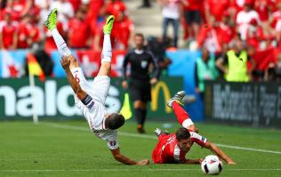 Robert Lewandowski on the wrong end of a tackle that's straight out of Sunday League