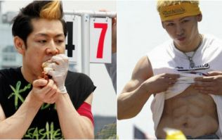 This is how a Japanese eating champion keeps his six pack eating 6,000 calories in one go