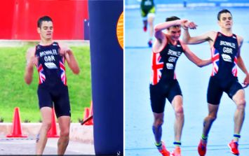 Alistair Brownlee saves brother Jonny from collapsing near finish line and helps him complete race