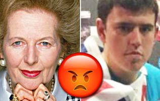 Photo of angry young Tory standing next to beheaded Margaret Thatcher goes viral