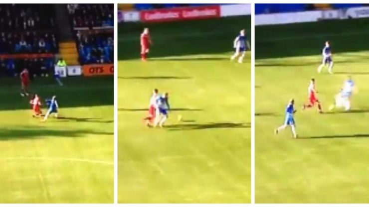 An Aberdeen player nutmegged three players in one run because football's meant to be fun