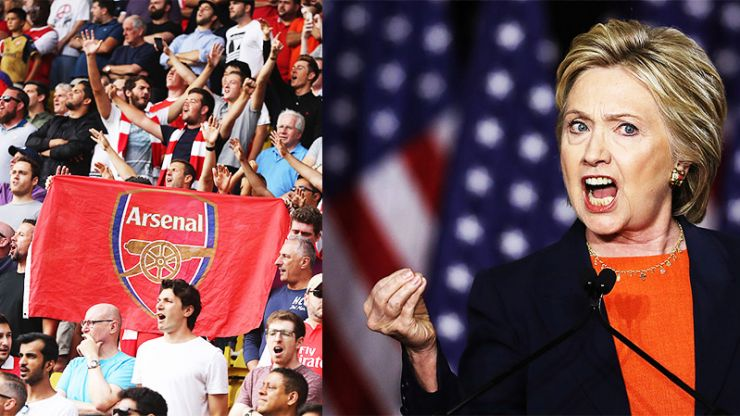 Hillary Clinton turns to Arsenal fans to help her seal victory in the US presidential race
