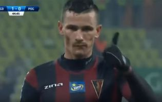 Polish footballer reacts perfectly to getting struck with chocolate bar at crucial moment