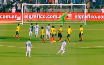 Lionel Messi filmed practising the exact free-kick he scored against Columbia before the game