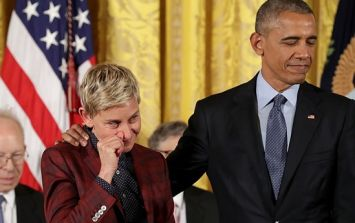 WATCH: Barack Obama gets emotional when presenting Ellen with Presidential Medal of Freedom