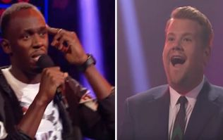 Usain Bolt absolutely destroys James Corden in this great rap battle