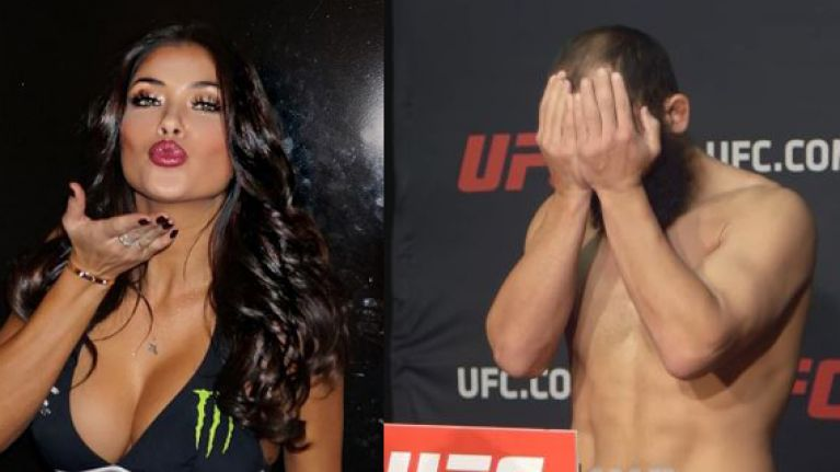Did UFC ring girl Arianny Celeste score a low blow on Johny Hendricks at weigh-ins?
