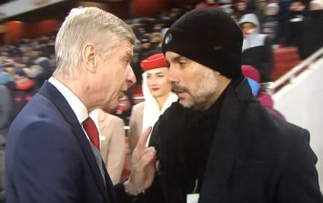 Fans reckon they know what Arsene Wenger was saying to Pep Guardiola prior to kick-off