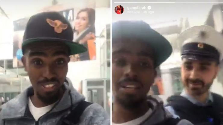 Mo Farah Instagram Lives himself being 'racially harassed' in airport