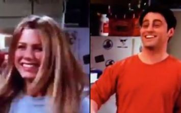 Friends archive footage shows Matt LeBlanc mouthing lines to Jennifer Aniston