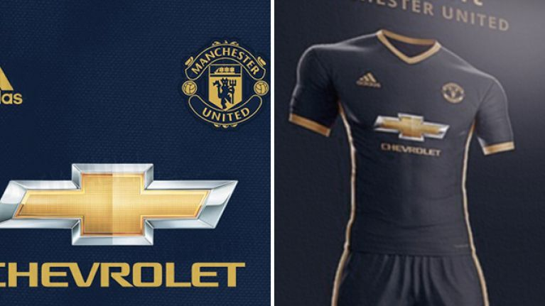 c17d7e678 Manchester United s leaked midnight blue and gold away kit for next season  is pure class