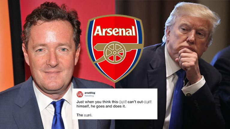 Arsenal fans are furious with Piers Morgan's choice of gift for Donald Trump