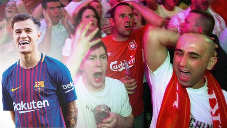 Liverpool supporters are a tad unhappy about Philippe Coutinho's first Barcelona goal