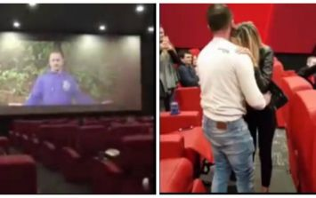 WATCH: Man proposes to girlfriend on the big screen in a packed cinema