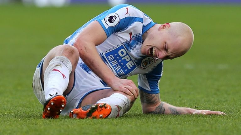 Huddersfield's Aaron Mooy shows off gruesome knee injury