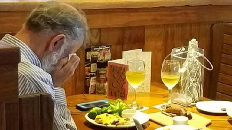 Grieving man has lunch with his wife's ashes on Valentine's Day