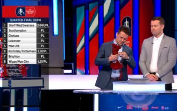 Michael Owen struggles to open bag during FA Cup draw
