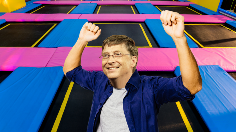 Bill Gates has a trampoline room in his house which proves that he truly does have it all