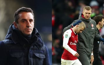"""Gary Neville slaughters """"disgraceful"""" Arsenal throughout commentary on Carabao Cup final"""