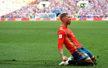You can probably guess the joke being made as Sergio Ramos tries to claim Spain's opener against Russia