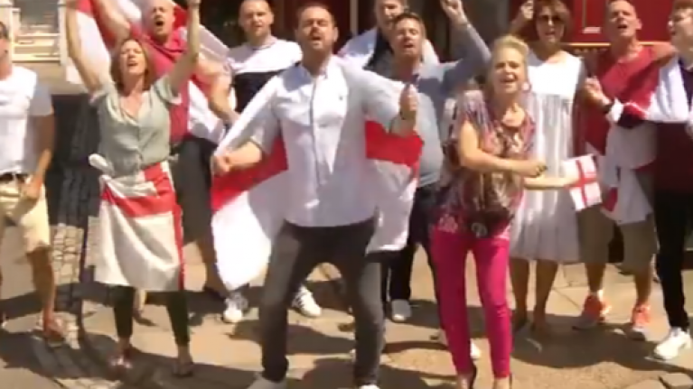 """Danny Dyer and Eastenders cast sing """"Three Lions"""" ahead of World Cup quarter-final"""