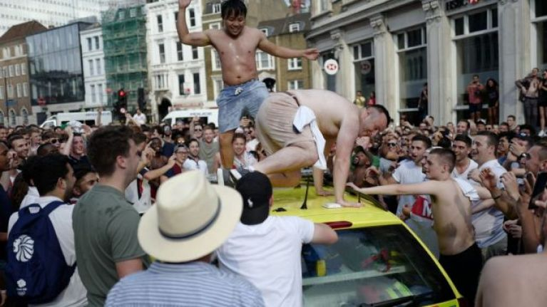 Turns out the woman who danced on the ambulance after England's win is actually a Scot