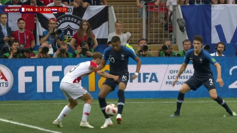ab8dfa23e94 Ivan Strinic s handsy attempt to stop Kylian Mbappe did not go unnoticed