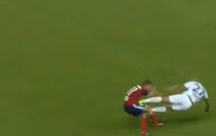 Footballer sent off for spectacular WWE-style drop-kick in Champions League tie