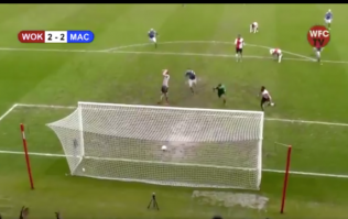 Non-League defender learns never to turn his back on the ball in worst way possible