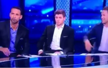 Steven Gerrard's reaction to Michael Owen joke is almost too difficult to watch