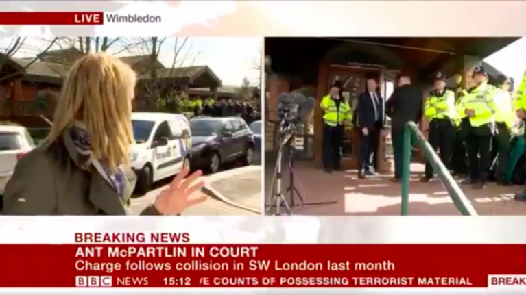 Car crash filmed in the background as BBC report Ant McPartlin court verdict