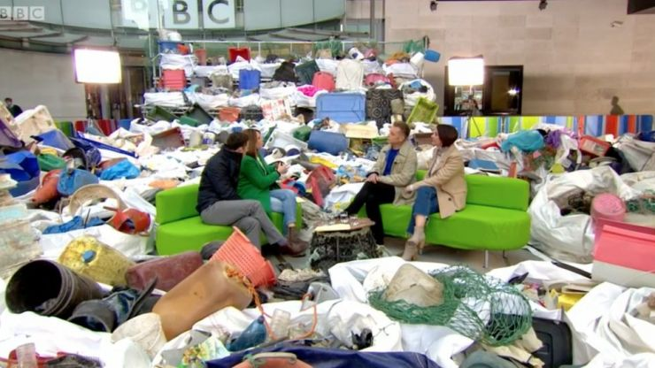 The One Show filled their studio with plastic rubbish, and everyone made the same joke