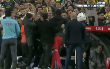 WATCH: Game abandoned after Besiktas manager struck in the head by object thrown by Fenerbahce fans