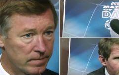 Sir Alex Ferguson's furious reaction to John Motson's question about Roy Keane is a great watch