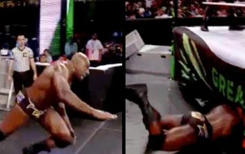 WWE wrestler Titus O'Neil spectacularly faceplants on his way to the ring, ends up underneath it