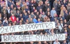 Crystal Palace fans unveiled a banner in support of safe standing at Selhurst Park today