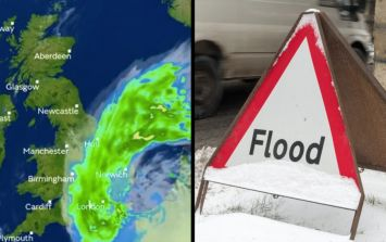 Surprise snow forecast for UK following heavy downpours and flood warning